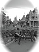 Roy And Minnie Mouse Black And White Magic Kingdom Walt Disney World Print by Thomas Woolworth