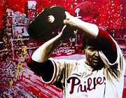 Philadelphia Phillies Paintings - Roy Halladay - Machine by Bobby Zeik