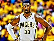 Dunking Photo Framed Prints - Roy Hibbert Framed Print by Florian Rodarte