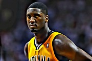 Slam Dunk Framed Prints - Roy Hibbert Portrait Framed Print by Florian Rodarte