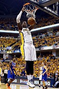 Pacers Photo Prints - Roy Hibbert Slam Dunk Print by Sanely Great