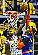 Dunking Prints - Roy Hibbert vs Carmelo Anthony Print by Florian Rodarte
