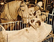 Victim Posters - Roy Rogers and Trigger with a Polio Victim in Pittsburgh Poster by Unknown