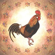Folk Art Prints - Roy the Rooster Two Print by Linda Mears