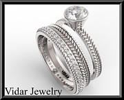 14k Jewelry - Royal 14k White Gold Diamond Wedding Ring And Engagaement Set by Roi Avidar
