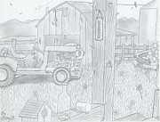 Featured Drawings - Royal Arkansas 1971 by Gerald Griffin