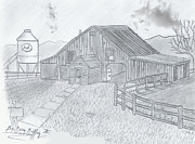 Old Barn Drawing Originals - Royal Arkansas Back Roads by Gerald Griffin