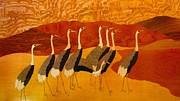 Most Mixed Media Originals - Royal birds-Wood veneer  by Pankaj Jain