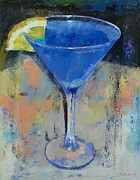 Ultramarine Posters - Royal Blue Martini Poster by Michael Creese