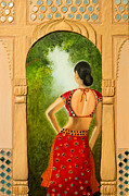 Red Royal Mixed Media Framed Prints - Royal Bride Framed Print by Archana Doddi
