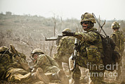 Infantry Art - Royal Canadian Army Officer Directs by Stocktrek Images