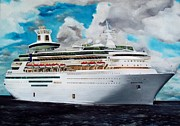 Jamaican Art Paintings - Royal Caribbean Sovereign of the Seas by Kenneth Harris
