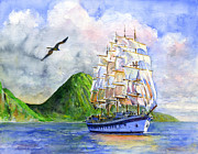 Caribbean Painting Originals - Royal Clipper leaving St. Lucia by John D Benson