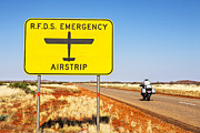 Cyclist Posters - Royal Flying Doctor Sign Outback Australia Poster by Colin and Linda McKie