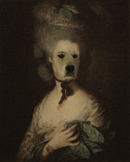 Funny Dog Digital Art Originals - Royal Lady With A Hat by Jolanta Prunskaite