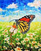 Edulescu Paintings - Royal Monarch Butterfly In Daisies by Ana Maria Edulescu