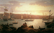 Sailing Ships Framed Prints - Royal Naval Vessels off Pembroke Dock Hilford Haven Framed Print by Robert Salmon
