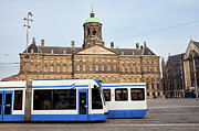 Royal Palace Prints - Royal Palace and Trams in Amsterdam Print by Artur Bogacki
