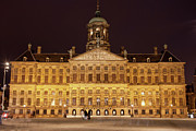 Royal Palace Prints - Royal Palace in Amsterdam at Night Print by Artur Bogacki