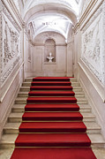 Red Buildings Posters - Royal Palace Staircase Poster by Jose Elias - Sofia Pereira
