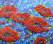 Acrylic Art Posters - Royal Poppies by Prankearts Poster by Richard T Pranke