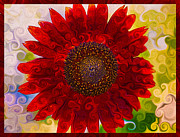 Witkowski Mixed Media Prints - Royal Red Sunflower Print by Omaste Witkowski