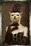 Elegant Cat Picture Prints - Royal Retro Kitty Portrait Print by Jolanta Prunskaite