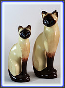 Brown Ceramics Metal Prints - Royal Siamese - Ceramic Cats Metal Print by Barbara Griffin