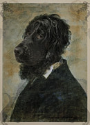 Funny Dog Digital Art Originals - Royal Teacher Black Dog Portrait by Jolanta Prunskaite