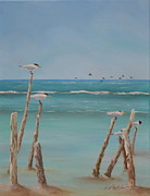 South Padre Island Texas Posters - Royal Terns Poster by Karen Butcher
