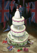 Kate Middleton Posters - Royal Wedding 2011 cake Poster by Martin Davey
