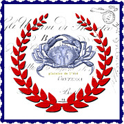 Blue Crab Mixed Media - Royale - Coastal Crab by Anahi DeCanio