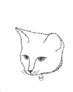 Word Portrait Drawings Posters - Royalty in a word is Cat Poster by Bethany Martin