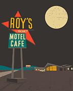 Route 66 Framed Prints - Roys Cafe Framed Print by Jazzberry Blue