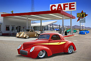 Street Rods Posters - Roys Gas Station 2 Poster by Mike McGlothlen