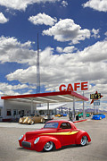 Classic Cars Posters - Roys Gas Station - Route 66 Poster by Mike McGlothlen