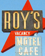 Sign Digital Art Framed Prints - Roys Motel and Cafe . Vacancy Framed Print by Wingsdomain Art and Photography