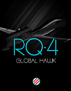 Global Hawk Posters - Rq-4 Global Hawk Blackout Poster by Reggie Saunders