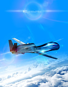 Global Hawk Posters - RQ-4 Global Hawk Into The Blue  Poster by Reggie Saunders