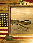 Global Hawk Posters - Rq-4 Global Hawk Rustic Flag Poster by Reggie Saunders