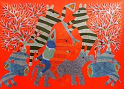 Gond Tribal Art Paintings - Rsu 68 by Ram Singh Urveti