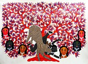 Gond Tribal Art Paintings - Rsu 69 by Ram Singh Urveti