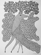 Gond Paintings - Rsu 73 by Ram Singh Urveti