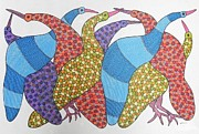 Gond Art Paintings - Rt 11 by Ramesh Tekam