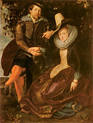 Rubens Painting Prints - Rubens and Isabella Brand Under a Honeysuckle Bower Print by Peter Paul Rubens