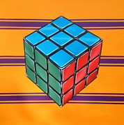80s Painting Posters - Rubiks Poster by Anthony Mezza