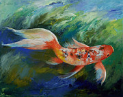 Koi Painting Posters - Ruby and Sapphire Poster by Michael Creese