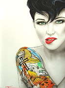 Tattoos Paintings - Ruby II by Christian Chapman Art