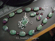 Silver-filled Art - Ruby in Fuchsite Necklace Pendant and Earrings Set by Kris Penney