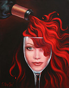 Wine Bottle Paintings - Ruby Red by Sandi Whetzel
